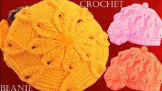 Como tejer a crochet o ganchillo gorro boina en punto de hojas y flores ...