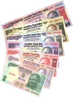 Economics: This is Indian Rupee. Rupee is the currency of India. They're five coins and seven banknotes. 1 Rupee is equal to 0.016 cents in United States money. Bhutan and Nepal also use Rupee.