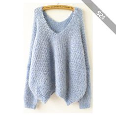 246d9cdfedb14 Shop Sky Blue Long Sleeve V Neck Oversize Mohair Sweater online. Sheinside  offers Sky Blue Long Sleeve V Neck Oversize Mohair Sweater   more to fit  your fas