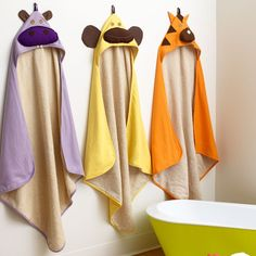 Made of a spa grade natural terry towelling on the inside and cotton knit on the outside, both parents and babies will go wild for these animal hooded towels! Available from #polkadotpeacock. #peacocklove #3sprouts