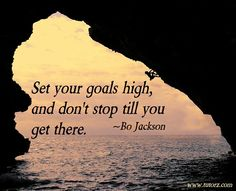 """""""Set your goals high, and don't stop till you get there."""" ~Bo Jackson"""