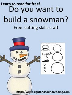 Do you want to build a snowman? Fun worksheet to help practice cutting skills. Great for kindergarten or preschool. Could use as book report template Preschool Curriculum, Preschool Lessons, Preschool Activities, Kindergarten, Preschool Classroom, Homeschooling, Free Activities For Kids, Snow Activities, Winter Fun