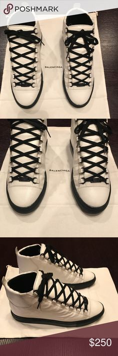 Balenciaga Arenas Fairly Maintained men's balenciaga Arena white with Black sole & black laces . No grotesque damages only normal wear & tear from usage but still well kept please view all photos shoe is leather . No boxes or bags included Balenciaga Shoes Sneakers