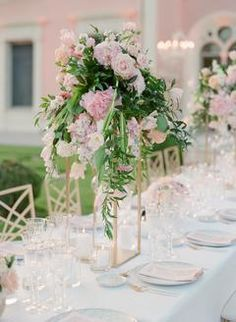 Lovers of All Things Pink & Floral Need to See This Stunning Villa Wedding in France! Head Table Wedding, Wedding Reception Centerpieces, Wedding Ceremony Decorations, Wedding Rentals, Destination Wedding, Wedding Planning, Wedding Ideas, Glamorous Wedding, Elegant Wedding