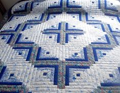 Log Cabin Quilt Amish Handmade Quilt