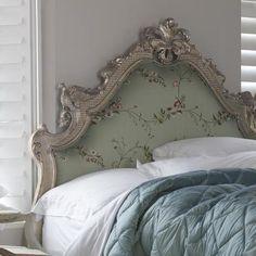 Versailles luxury upholstered silver leaf headboard