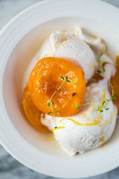 Rooibos Poached Apricots with Thyme