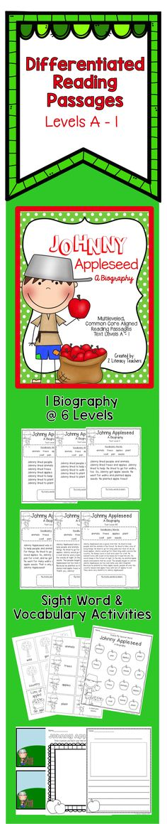 Johnny Appleseed Biography: Differentiated Reading Passages. This is one story written at 6 different levels, A - I, so that ALL of your students can access the text. Great for small or whole group. Third Grade Reading, Guided Reading, Close Reading, Second Grade, Vocabulary Activities, Group Activities, Leveled Reading Passages, Johnny Appleseed, Effective Learning