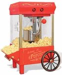 This wonderful and charming tabletop size kettle popcorn maker produces delicious popcorn just like the movie theaters! Why not add a bit of old fashioned charm to any TV room  family room or kitchen