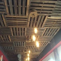 7 Most Popular Basement Ceiling Ideas to Consider in Your Remodel Pallet Ceiling, Metal Ceiling, Corrugated Tin Ceiling, Drop Ceiling Tiles, Corrugated Metal, Garage Lighting, Man Cave Lighting, Dropped Ceiling, Basement Renovations