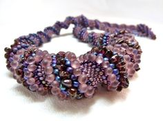 Garnet and Amethyst Cellini Spiral Beadwoven by littlestonedesign, $99.00