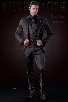 Burgundy polka dotted suit with satin black lapel #menswear #menstyle #groom…