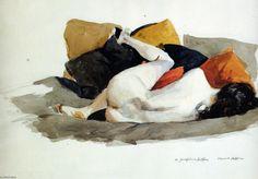 'liegender akt', Aquarell von Edward Hopper (1882-1967, United States)