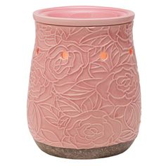 Bask in the beauty of a mid-summer #garden of abstract, blushing-pink roses with a subtle crackled finish. #justawickaway #scentsy