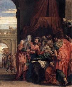 Paolo Veronese-Resurrezione della figlia di Giairo,1546 circa,42×37 cm,olio su carta montato su tela,Parigi,Museo del Louvre