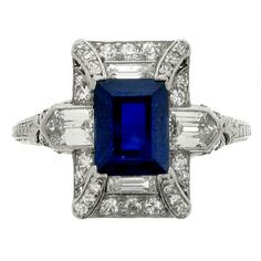 Art Deco Sapphire and Diamond Ring, Circa 1925