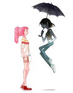 Marceline the Vampire Queen under an umbrella / parasol and Princess Bubblegum PB Adventure Time