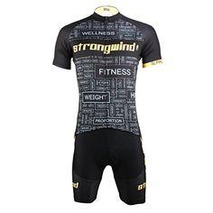 17ca9c4d0 Paladin Mens Strongwind Pattern Bike Shirt Short Sleeve Black Cycling Jersey  Set Size XL  gt