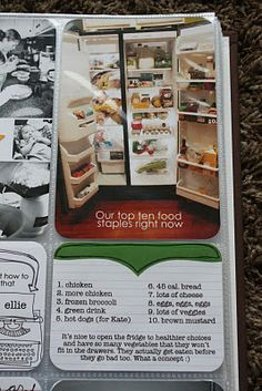 Journal your top ten food staples -- even include picture of the open refrigerator, if you are brave enough. :)