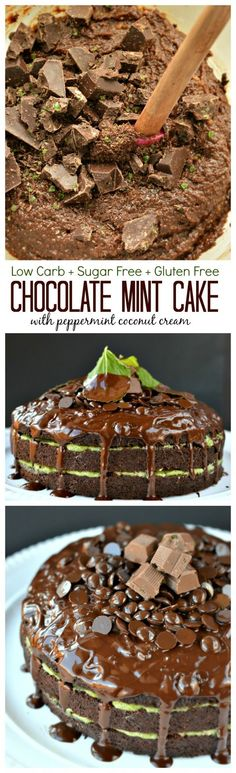Healthy Chocolate Mint cake : Low carb + Sugar Free + Gluten Free with a creamy peppermint coconut cream layer.