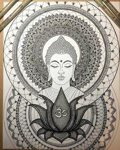 'Rule your mind or it will rule you - Buddha' . Work-in-progress drawn with by . Buddha Drawing, Doodle Art Drawing, Buddha Painting, Buddha Art, Art Drawings, Mandalas Painting, Mandalas Drawing, Mandala Artwork, Buddha Tattoos