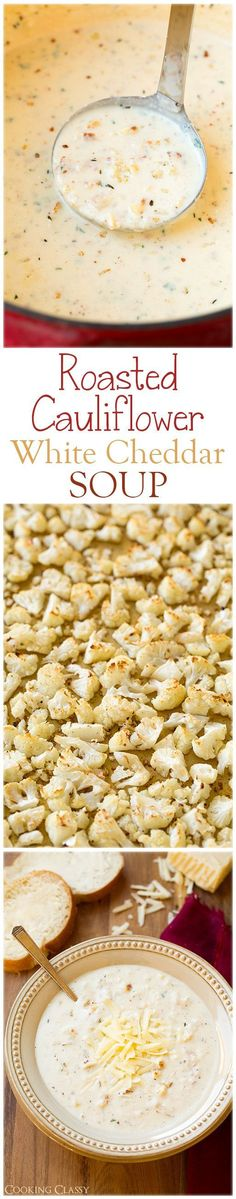 Roasted Cauliflower White Cheddar Soup - this soup is AMAZING! So full of delicious flavors. Roasted Cauliflower White Cheddar Soup - this soup is AMAZING! So full of delicious flavors. Think Food, I Love Food, Food For Thought, Low Carb Recipes, Vegetarian Recipes, Cooking Recipes, Healthy Recipes, Low Carb Soups, Cooking Tips