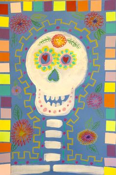 This little third grade Dia de Los Muertos project was enjoyed by my third graders and by me, too! I love Crayola Color Sticks – they can be a nice alternative to oil pastels when you d… Halloween Art Projects, Fall Art Projects, School Art Projects, Halloween Prop, Halloween Witches, Happy Halloween, Halloween Decorations, Halloween Stuff, Vintage Halloween