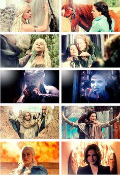 Daenerys Targaryen and Regina Mills <3 GOOD GOD I LOVE THIS. The Queens.