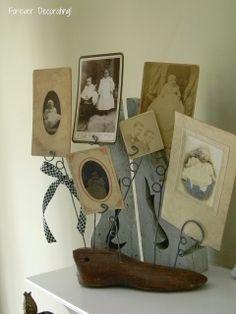 Vintage Wooden Shoe Form Photo Holder
