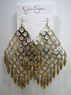Jessica Simpson Metallic Oasis Open Work Large Gold Tone Chandelier Earrings #JessicaSimpson #Chandelier