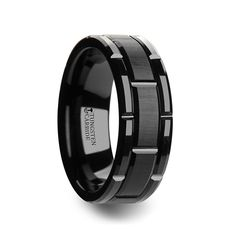WINDSOR Beveled Black Tungsten Carbide Wedding Band with Brush Finished Center and Alternating Grooves - 8 mm & 10 mm