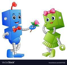 Robot boy giving a flower for robot girl. Illustration of Robot boy giving a flo , Robot Picture, Giving Flowers, School Frame, Robot Girl, Adobe Illustrator, Smurfs, Boy Or Girl, Clip Art, Cartoon