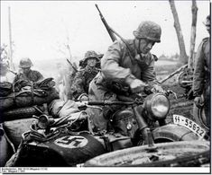 BMW R35 motorcycles with the Waffen SS Totenkopf, Russia, 1941