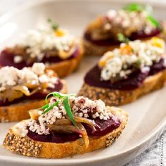 Beet and Balsamic Caramelized Onion Bruschetta with Crumbled Goat Cheese