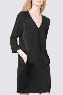 Black V Neck 3/4 Sleeves Dress