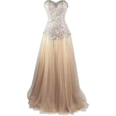 Meier Women's Gold Strapless Beaded Lace Sequin Quinceañera Ball Gown... ($129) ❤ liked on Polyvore