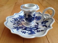 Blue Danube of Japan Blue Onion Candle Stick Holder by SimplyAgain Blue And White China, Blue China, White White, Candlestick Holders, Candlesticks, Blue And White Dinnerware, Blue Onion, Red Candles, Light Fittings