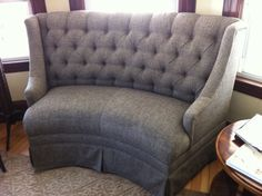 Could possibly work although would love it in a velour-Custom Made Settee Couch Sofa by UncoveredDecor on Etsy, Custom made, High back curved settee, tufted dove gray upholstery, skirted base, excellent (if not mint!) condition. Approximately 6' long. Very unusual and versatile, fits different spaces. From MB