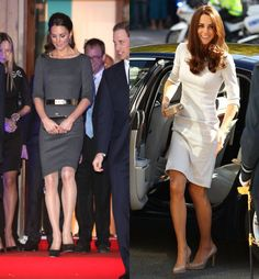 Kate Middleton Amanda Wakely sculpted dress in charcoal and cream