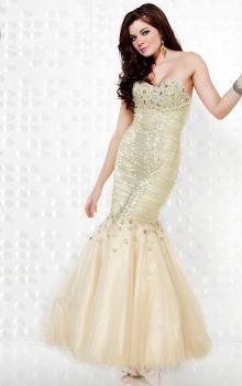 Champagne Mermaid/Trumpet Strapless,Sweetheart Natural Long/Floor-length Sleeveless Sequins Zipper Up Prom Dresses Dress