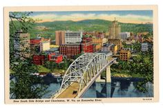 New South Side Bridge and Charleston West Virginia vintage linen postcard unused