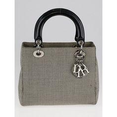 bd70f95c17e Pre-owned Christian Dior Houndstooth Print Canvas Medium Lady Dior Bag  (4,330 GTQ) ❤ liked on Polyvore featuring bags, handbags, christian dior  handbags, ...