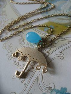 SALE  Umbrella charm and aqua gemstone necklace by weddingvalle