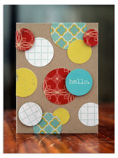 easy circle card...I've made cards similar to this.  I love circles and stripes!!