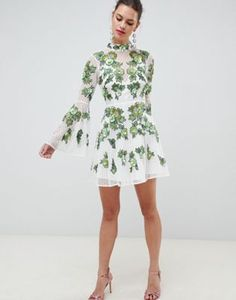 63f9d609f ASOS EDITION | ASOS EDITION floral embroidered and embellished mini skater  dress Asos, Mini Skater
