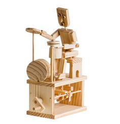 Timber Kits Animated Drummer | Hobbies With a full kit of drums and operating cymbal. One foot working the `top hat`, while producing a syncopated `rhythm` on the snare drum.Kit comes in a bag with clear assembly instructions.