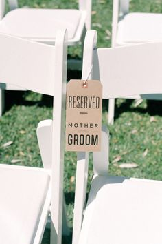 """So cute! Make your moms feel special by adding a """"Reserved"""" sign to their chairs during your ceremony. Such a cute DIY detail, too!    Curated by www.partiespearlsandbeingprecious.com"""
