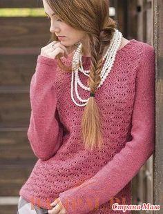 """Описание вязания пуловера от дизайнера Heather Zoppetti переведено из журнала """"The Knitter"""".  Размеры:  XS (S, M, L, XL, 2XL)  Окружность груди – 70 (83, 95.5, 108.5, 121.5, 133.5) см,"""