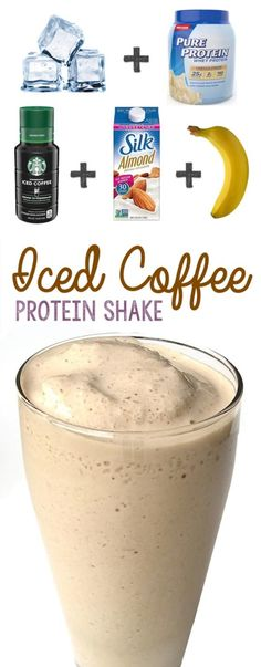 Iced Coffee Protein Shake Recipe - Smoothie and healthy drinks - Coffee Recipes Iced Coffee Protein Shake Recipe, Protein Shake Recipes, High Protein Snacks, Iced Coffee Recipes, Iced Coffee Blender Recipe, Coffee Protein Smoothie, Smoothies Coffee, Smoothie With Coffee, Healthy Protein Foods