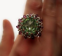OOAK Statement Ring Artisan Crafted Green Amethyst Swarovski Crystal Rivoli, Bead Weaving